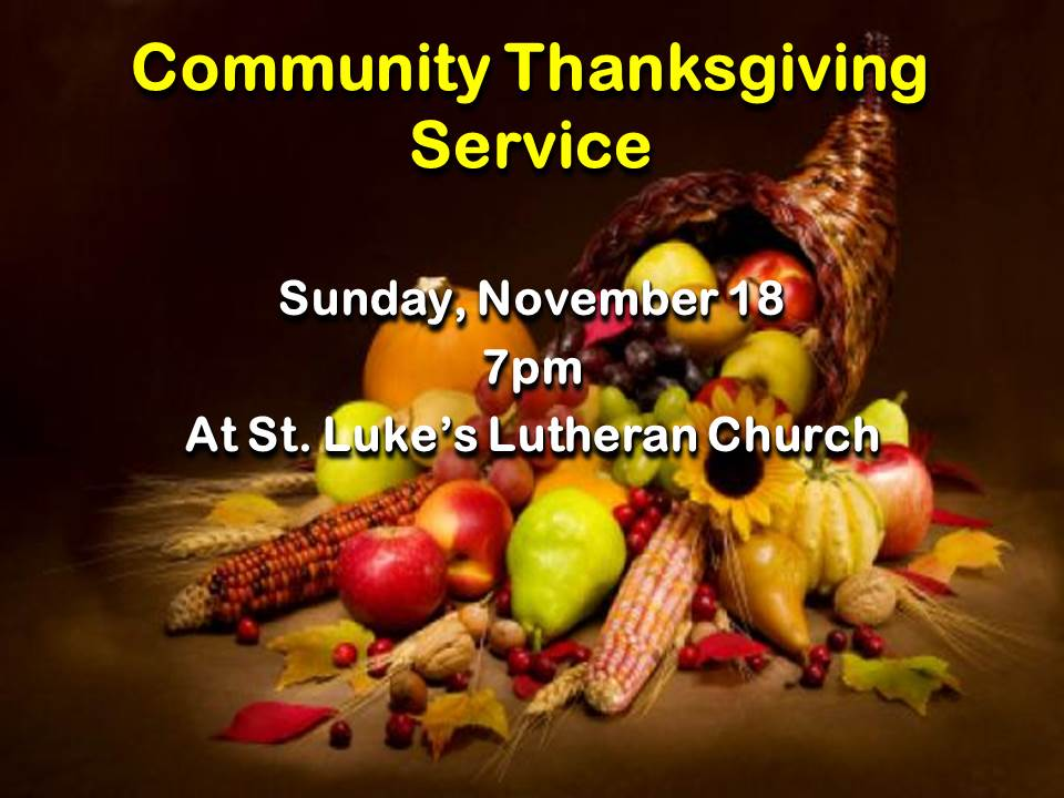 Community Thanksgiving Service 2018