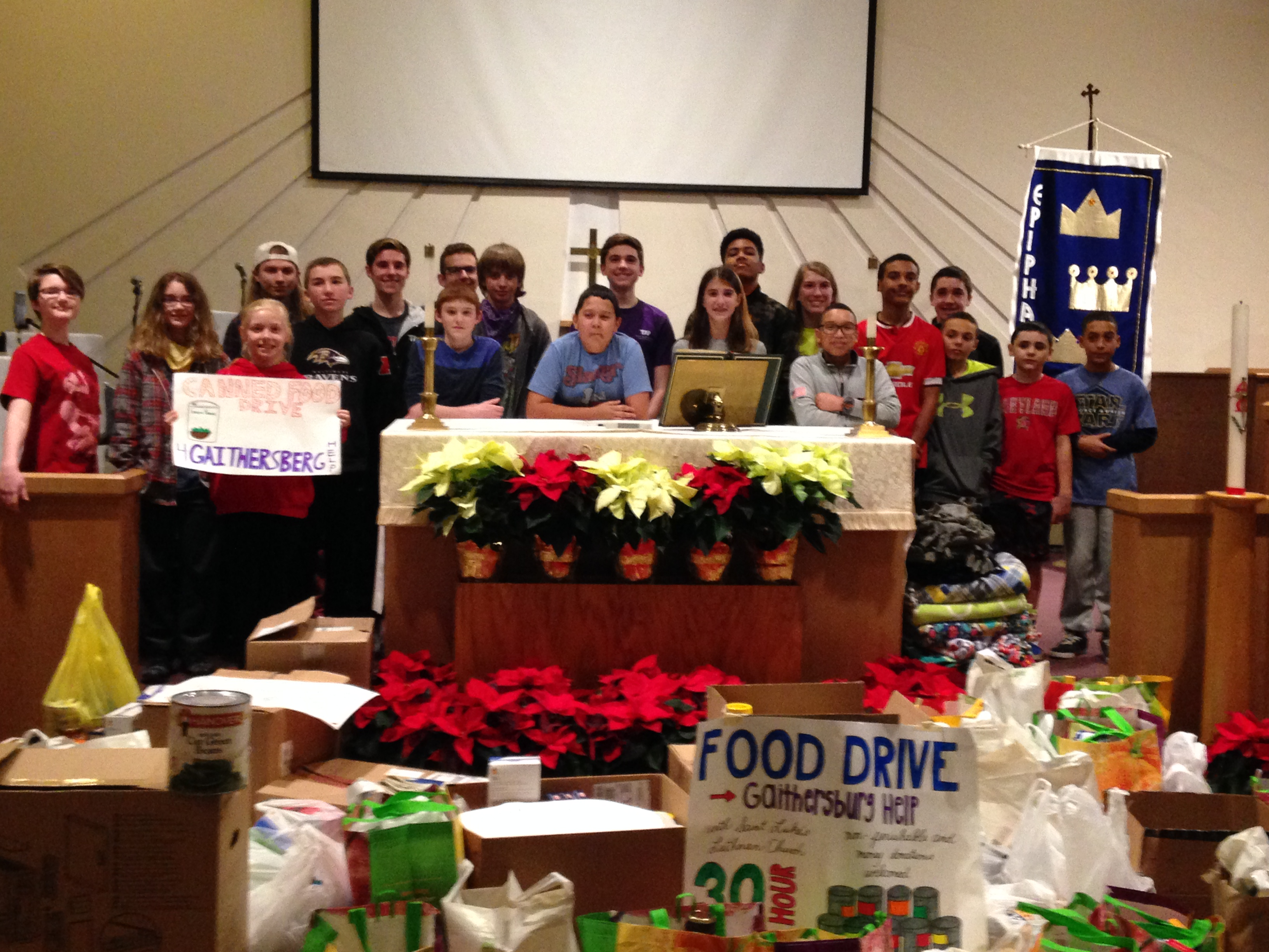 Middle and High School Youth collected food for Gaithersburg HELP and raised money for hunger relief during the recent 30 Hour Famine
