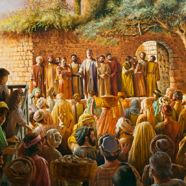 Apostles preaching in the temple