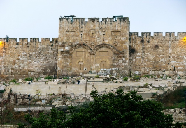 The Beautiful Gate outside the Temple in Jerusalem