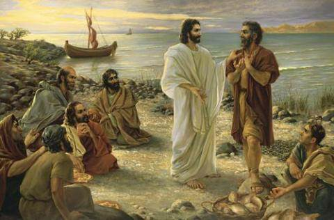 Jesus and Peter on beach
