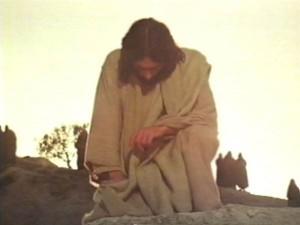 Jesus at Lazarus grave